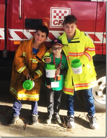 Callum Judd (centre) with his cousins Aaron and Riley.