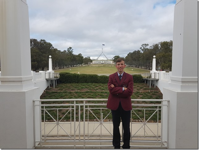 Joel Blanch pictured at Parliament House in Canberra for the National Schools Constitutional Convention.