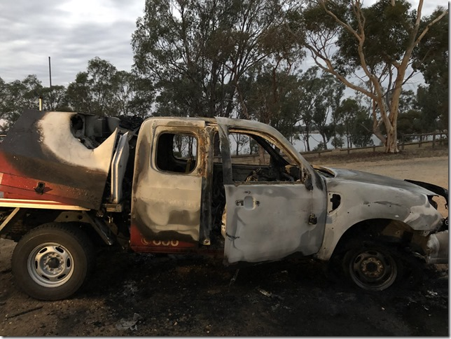 Langley-Barfold Fire Brigade's support vehicle was found torched near Lake Eppalock last Wednesday.