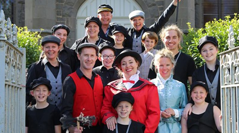 Mary Poppins 'family cast' members on the steps of the Bluestone Theatre.