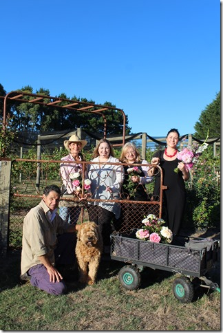 Micro rose and peony farmer Danielle White with author Vanessa Carnevale and Consortium Botanicus members Sandy McKinley, Janae Paquin-Bowden and Ashley Wren (kneeling) with Keagan the dog.