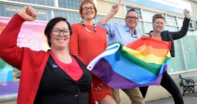 Local LGBTIQ community consultant Sherene Clow, Castlemaine District Community Health prevention and allied health manager Louise Falconer, Castlemaine Community House manager Martyn Shaddick and Central Victorian Primary Care Partnership's Emma Shannon celebrate Friday's $76,140 announcement.