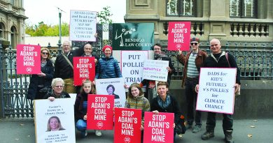 Local Central Victoria Climate Action group members support two of their Castlemaine members who fronted Bendigo Magistrates Court on Friday charged with trespass.