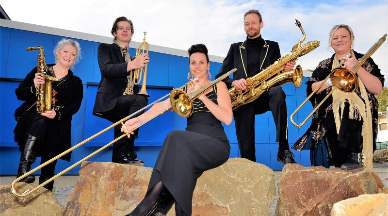 Members of the 18-piece Goldfelds Jazz Orchestra, Jude Russell, Emmanuel Hall, Kirsten Boerema, Michael Timcke and Wendy Laidler are looking forward to the orchestra's big debut gig at the Castlemaine Jazz Festival.