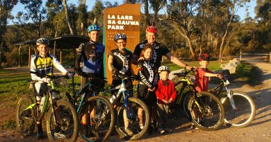 Preparing to compete: Harcourt's Brasher family features five keen mountain biking members who are looking forward to this weekend's competition Pictured (left to right) are Owen Brasher,13, Al Brasher, 15, Andrea Brasher, Sammy Brasher, 10, Brian Brasher, Paddy Brasher, 4, and Declan Brasher, 7.