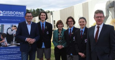 Premier Daniel Andrews, college captain Owen Hughes, Macedon MP Mary-Anne Thomas, college vice-captain Louis Saunders, captain Emily Keane and college principal Jon Morley. Photo: Tianna Stables