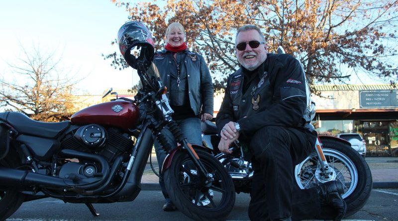 Sylvia rides a Harley Street 500 and Mark rides a Harley 1200 Custom Sportster.