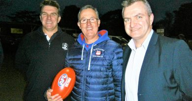 Plenty of enthusiasm: pictured at the $100,000 announcement are (from left) AFL Goldfields manager Rod Ward, Gisborne Football Netball Club president John Wood and AFL Victoria's manager Shayne Ward. The Ward brothers formerly played football and cricket at Gisborne.
