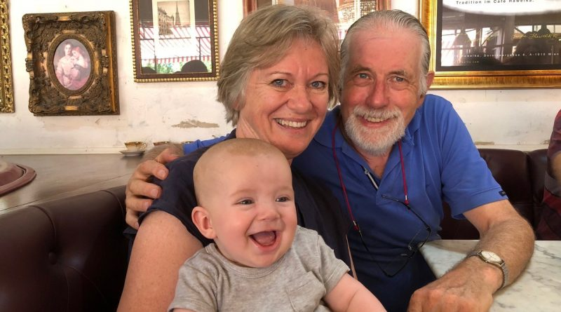 Heather and Neil Barrett with their grandson Reuben.