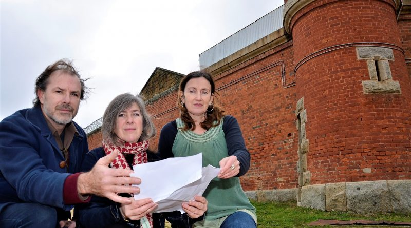 Stephen Mitchell with Kate Stones and Lisa D'Onofrio get ready for this Friday's unique performance of Letters from the Inside - at the Old Castlemaine Gaol.