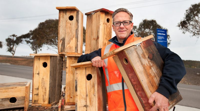 Acting vocational services manager at Middleton Prison Peter Foti with some of the nest boxes built by inmates to provide homes for phascogales near Barfold. Photo: Sandy Scheltema