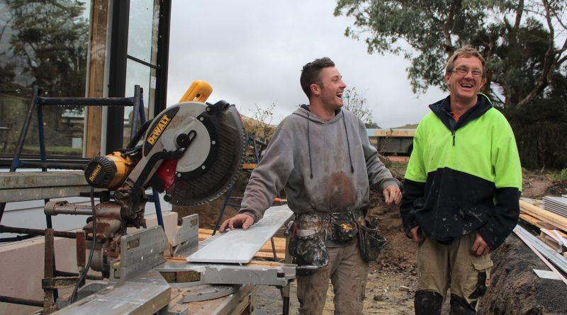 Thompson Builders' Ian Thompson (right) and his team are celebrating a win-win for Corinella Road.