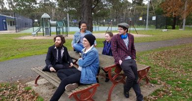 Youth Strategy co-designers (L to R) Lachlan McKenzie, (Back) Tara Kankindji, (Front) Kyle Hayes, Bec Barker and Kieran Atkins.