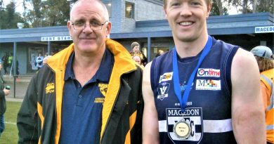 Medal winner: Tireless Macedon ruckman Tom Waters was judged best afield against Woodend-Hesket by the umpires on Saturday and he was presented with the Bill Tunn Medal by Eddie Tunn after the game when both teams lined up on the arena.