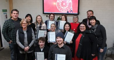 Representatives from the Social Foundry and the Kyneton Community and Learning Centre celebrate with their first round of graduates from the 'Skills for Life' program.