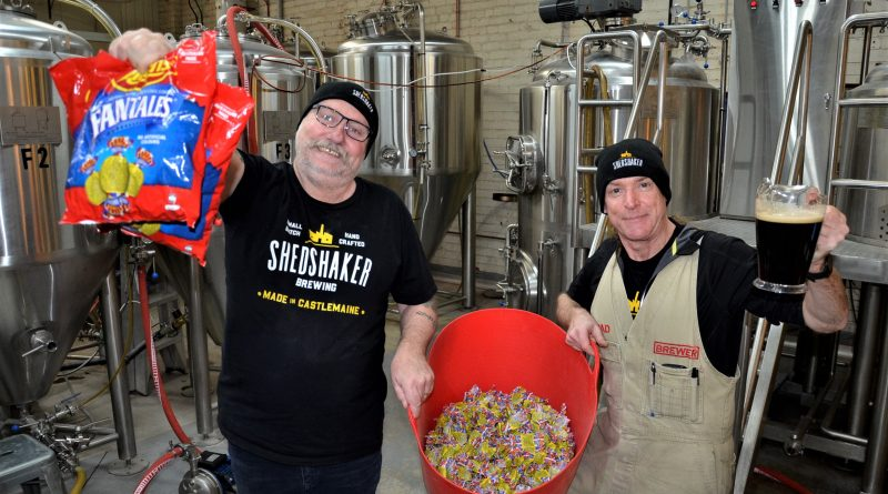 Jeff Carr and Brad Iles brew up the Fantale Ale at Castlemaine's Shedshaker Brewing in preparation for this month's sold out Bendigo On The Hop festival.