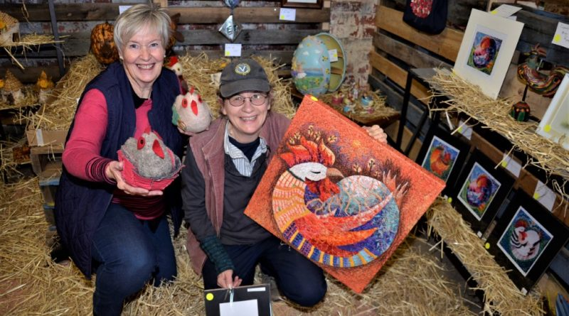 Friends of Lolotoe secretary/treasurer Chris Sertori and The Drying Shed's Linda Newton with examples of the artworks in Manu Feto Chicken Art Show.