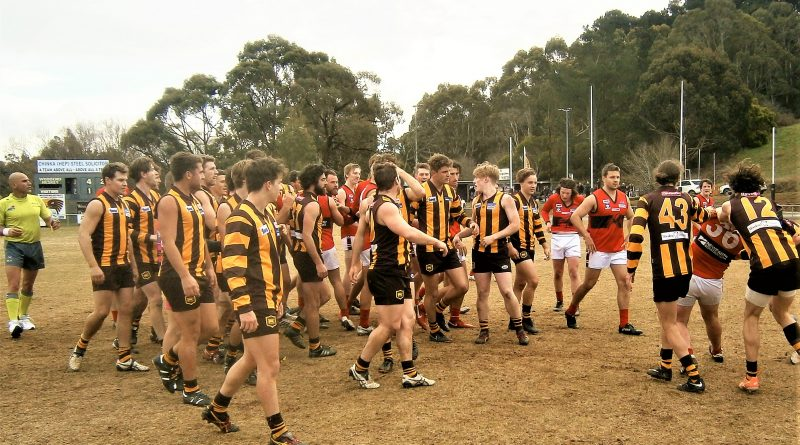 Tempers were frayed during an ugly quarter time melee involving a large number of Woodend-Hesket and Romsey players on Saturday. After the shouting, shoving and skirmishing subsided, Redbacks' Jack Jedwab and Phil Romerill found themselves yellow-carded and banned for 15 minutes in the second term.