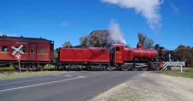 One of VGR's historic steam locomotives as it puffs through the dangerous level crossing.