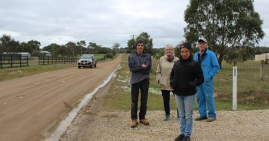 (L to R): Steven Wilson, Jenny Stubbs, Trish Harris and Alan Smith are pictured beside the unsealed section of Batters Lane. In the summer, traffic sends a constant stream of dust across their properties.