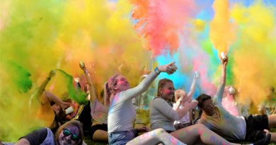 Students at Castlemaine Secondary College enjoy last Thursday's Colour Run. Photo: Eve Lamb