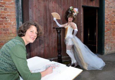 Guildford artist Bridget Farmer sketches Rococopops who is among the regular characters known to pose for the popular Dames, Drinks and Drawing sessions at Guildford.