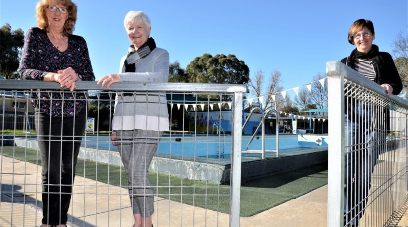 Newstead and District Swimming Pool Inc president Sue Pollard, Bendigo Regional YMCA CEO Jane Robson and Sharon Fraser at Newstead Swimming Pool following last week's council decision.