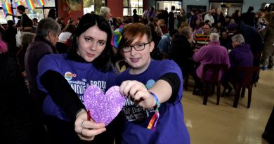 Castlemaine Secondary College students and diversity group reps Judzea Gatt and Liv Hocking at Friday's Wear It Purple Day.