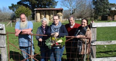 Keen to see Feed it Forward in action are local residents Milos Starec and Ruth Mason, acting Lancefield Neighbourhood House coordinator Alison Gamble, Macedon Ranges councillor Bill West and Romsey Neighbourhood House coordinator Michelle Balthazar.