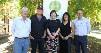 Hepburn Shire councillor Don Henderson, artist David Bromley, Macedon MP Mary-Anne Thomas, singer Kate Ceberano and Cr John Cottrell announce the new festival in January this year.