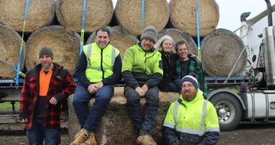 Loading the hay on Friday were James Worth, International Racehorse Transport managing director Chris Burke, Central Land Management Services' Andrew Scanlon, Jake Sutherland, Ray Saunders and Laverne Saunders.