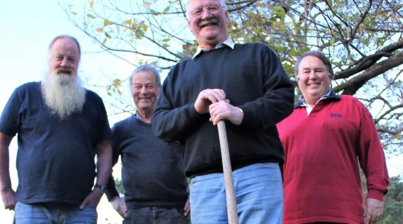 Romsey Men's Shed vice-president Milos Starec, Macedon Ranges councillor Bill West, Romsey Men's Shed president Steve Goodman and secretary Patrick Holt.