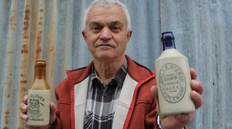 Kyneton collector Neville is interested in expanding his collection and learning more about the local history behind the companies that produced glass and ceramic bottles for goods for the district years ago.