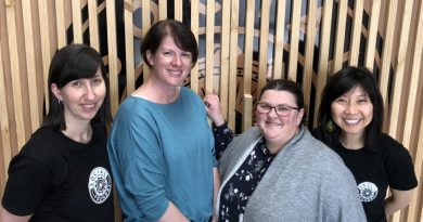 (L-R) Bron Burnett (Social Foundry general manager), Melissa Connors (founder, This Farm needs a Farmer), Claire Rawlinson (Kyneton Community and Learning Centre, community development and pathways coordinator) and Sue-Lee Seng, (Social Foundry front of house manager).