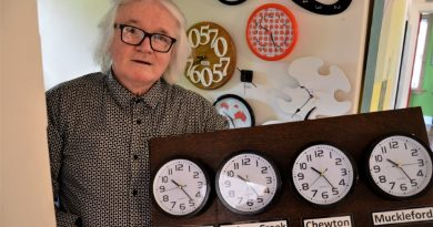 Castlemaine contemporary artist Leslie Thornton with some of the pieces that will feature in Clocktober.