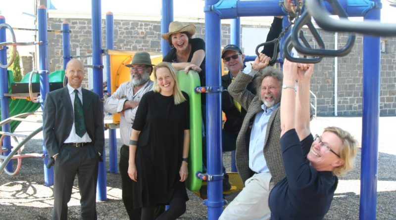 Greens candidates Nicole Rowan (at right) and Ralf Thesing (at left) meet with Kyneton and District Town Square Co-Op board members Huntly Barton, Viveka Simpson, Margot McDonald, Peter Henderson and Rob Bakes.