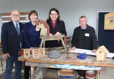 Kyneton Men's Shed chair John Mitchell (left) and valued member Bob Grubb were excited to declare the new shed officially open with local MP Mary-Anne Thomas and Minister for Families and Children Jenny Mikakos.