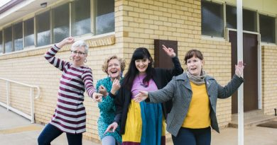 The team behind No Lights No Lycra (L-R Lucy, Julie, Katie and Karine) invite you to join them to dance in the dark at Westend Hall at 8pm on Friday. Photo: Penny Ryan