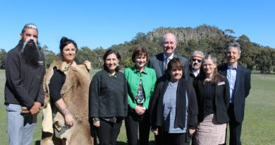 Rodney Carter and Trent Nelson from the Dja Dja Wurrung and Aunty Alice from the Wurundjeri gave a welcome to country at Minister Wynne's announcement last week. They are pictured with Mr Wynne, MP Mary-Anne Thomas and Environment Minister Lily D'Ambrosio.