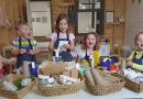 (From left) Making their own magic; Bevan Gwillim, 3, Hamish Darby, 3, Mabel Dart, 5, Sophie Darby, 6, Ada Gwillim, 4. Photo: Bernadette Nunn