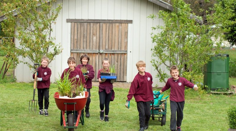 Lulu, Ari, Coen, Arrabella, Manu and Val get ready to plant the nationally endangered basalt peppercress plant at Trentham and District Primary School as part of state-wide efforts to prevent them from becoming extinct. Photo: Sandy Scheltema