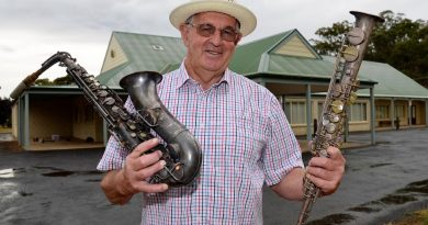 Brian Owens - pictured with vintage saxophones that once belonged to local yesteryear muso Ian Punton - ahead of the Campbells Creek Collectables Fair.