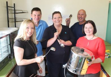 Federal Member for Bendigo Lisa Chesters (right) met with KFNC president Karen O'Sullivan, vice-president Rob Waters, canteen manager Sherene Blythe and building coordinator Carl Morris last week to announce funding for a new-look kitchen.