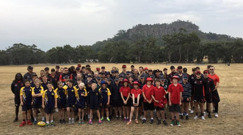 Hundreds of young school children had the chance to catch up with Essendon's finest from the field as they came to local footy clubs and Hanging Rock (pictured) to mix with the kids, run them through training sessions and dish out inspiration by the bucket load.