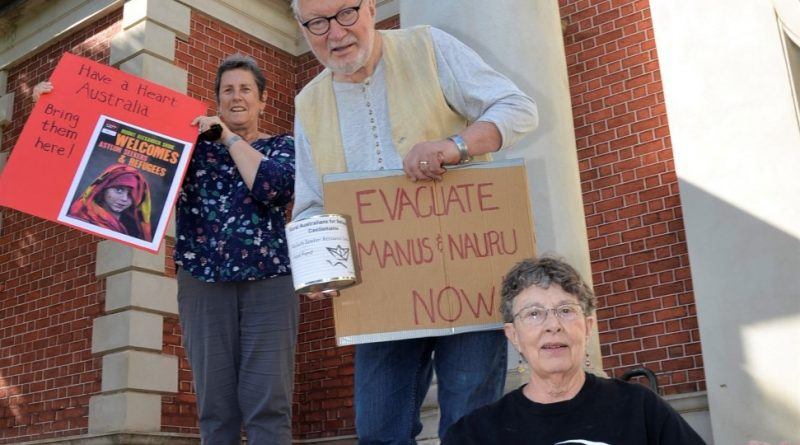 Rural Australians for Refugees Castlemaine members Bev Campbell, Wes Campbell and Ellen O'Gallagher following last week's federal medevac vote.