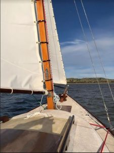 A view from aboard Aunty Su on her maiden outing under sail on Cairn Curran.