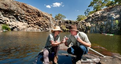 Nick Layne, project manager for NCCMA's Healthy Coliban Catchment, and landholder Kerry Connoley take part in the UCLN's Citizen Scientist Field Day to collect platypus DNA from critical refuge areas along the Coliban and Campaspe Rivers. They are seen here collecting samples at Turpins Falls. Photo: Sandy Scheltema