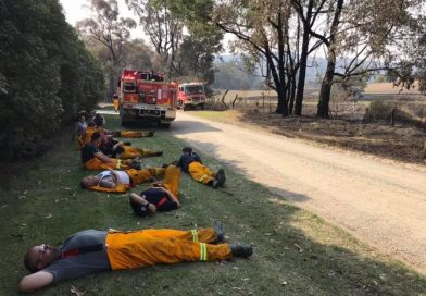 Macedon Ranges Strike Team 0215 recharge after a big day of assessing properties, clearing trees and blacking-out in the Bunyip fire complex. Photo: Mount Macedon Fire Brigade