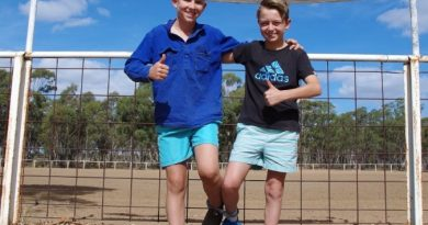 Lochie Cameron and Xave Mason are looking forward to participating in some of the fun activities including the three-legged race at the Race Ya event at Maldon on March 31.