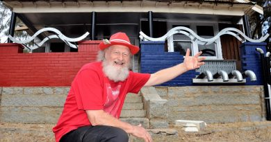 "Castlemaine's Cr Max Lesser with his self imposed ""art house"" restoration project in Harcourt."